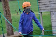 low level ropes course girl blindfolded challenge